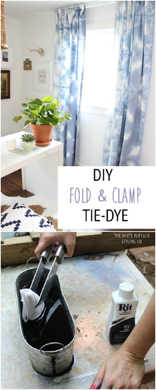 Fold And Clamp Tie-Dye Curtains